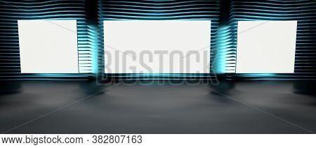 Blank Picture Frames On Grey Wall With Rows Of Neon Glowing Lamps, Mock Up. 3d Render Illustration.