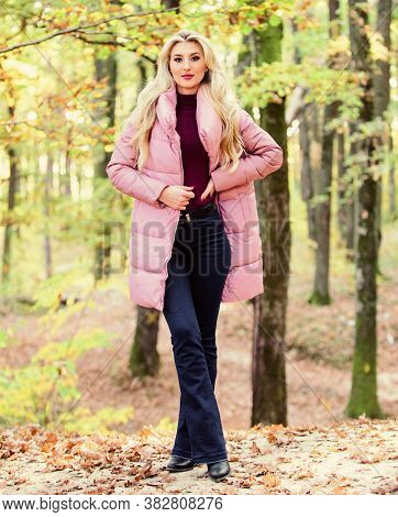 Puffer Fashion Concept. Outfit Prove Puffer Coat Can Look Stylish. Girl Fashionable Blonde Walk In P