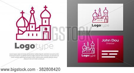 Logotype Line Moscow Symbol - Saint Basils Cathedral, Russia Icon Isolated On White Background. Logo