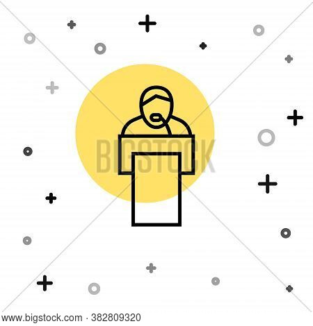 Black Line Gives Lecture Icon Isolated On White Background. Stand Near Podium. Speak Into Microphone