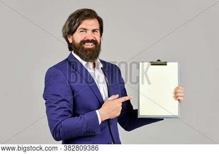 Businessman With Folder. Confident Businessman Holding Folder For Documents. Control And Inspection.