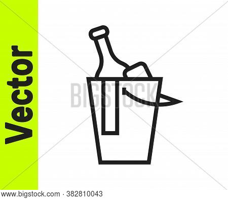 Black Line Bottle Of Wine In An Ice Bucket Icon Isolated On White Background. Vector