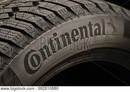 Krasnoyarsk, Russia, August 28, 2020: The Logo Of Continental, A German Tire Company, On The Side Of