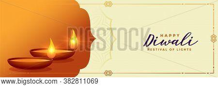 Auspicious Happy Diwali Festival Banner With Diya