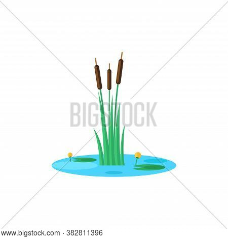 Reed And Water Lilies On The Pond Mini Scene, Natural Landscape Miniature Isolated Vector Illustrati