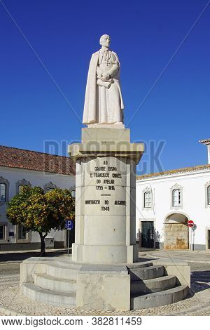 Faro, Portugal - December 28, 2019: Statue Of Francisco Gomes Do Avelar (1739-1812), Bishop Of The A