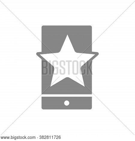 Star With Phone, Feedback Gray Icon. Mobile App Review, Add To Favorites, User Feedback Symbol