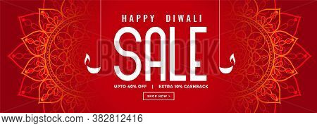 Happy Diwali Red Sale Decorative Banner Design