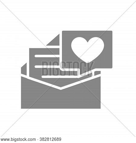 Letter With Big Heart Gray Icon. Declaration Of Love, Note In Envelope, Like, Feedback Symbol
