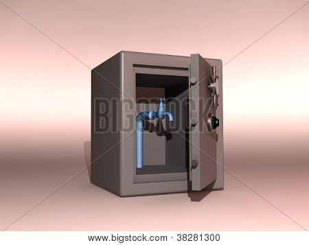 safe containing a tap