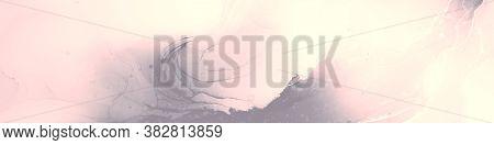 Vibrant Banner. Translucent Artwork. Alcohol Ink Pattern. Grey Pink Vibrant Banner. Grey Pink Grunge