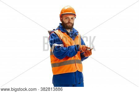 Handsome Contractor, Builder In Face Mask Isolated Over White Studio Background. Concept Of Professi