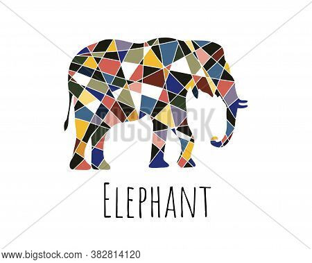 Vector Elephant In Graphic Style. Mosaic Style Elephant Made Of Black And Colored Pieces.
