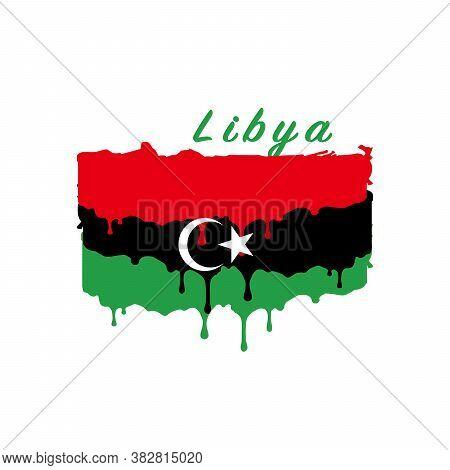 Painted Libya Flag, Libya Flag Paint Drips. Stock Vector Illustration Isolated On White Background
