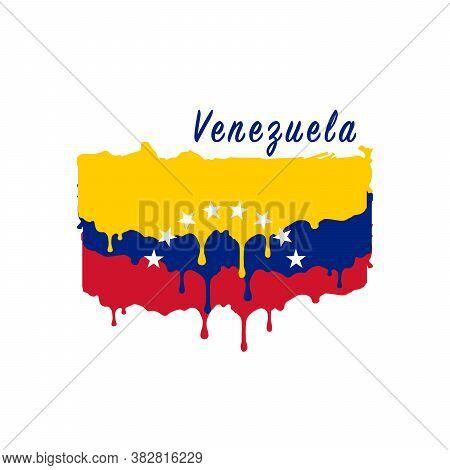 Painted Venezuela Flag, Venezuela Flag Paint Drips. Stock Vector Illustration Isolated On White Back