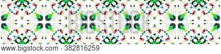 Tie Dye Background. Multicolor Natural Ethnic Illustration. Red, Green, Black And White Textile Prin