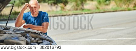 Upset Driver In Front Of Automobile Crash Car Collision Accident In Road