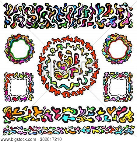 Multicoloured Art Nouveau Floristic Squares, Circles, And Dividers With Black Outlines. Abstract Ele