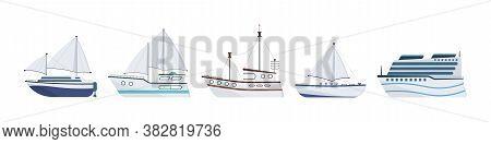 Sea Ship. Set Of Flat Yacht, Boat, Steamboat, Ferry, Fishing Vessel, Tugboat, Pleasure Boat, Cruise