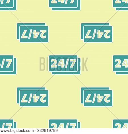 Green Clock 24 Hours Icon Isolated Seamless Pattern On Yellow Background. All Day Cyclic Icon. 24 Ho