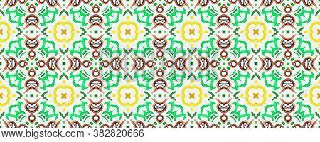 Square Tile Pattern. Bright Spanish. Colorful Wall Tile Decor. Patchwork Ceramic. Multicolor Ethnic