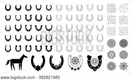 Big Set Of Horses Shoe Signs, Good Luck Graphic Elements