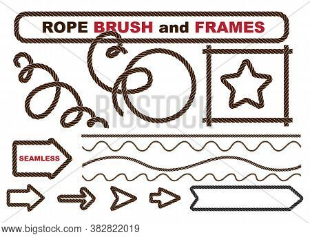 Set Of   Rope Brush And Frames, Cordage Lines, Waves
