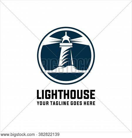 Lighthouse Logo Template. Building Of Lighthouse Logo Vector, Vector Illustration.