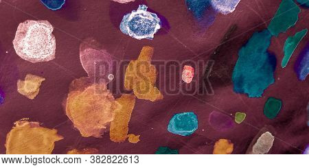Acrylic Wash Background. Multicolored Dirty. Brown Grunge Acrylic Art. Rainbow Fashion Ink Collectio