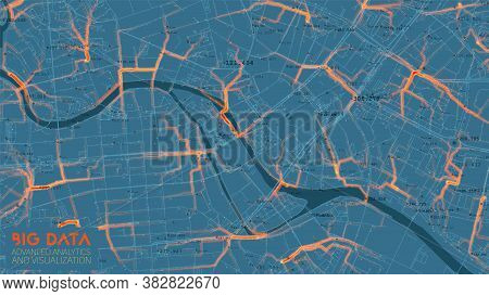 Big Data Traffic Analysis In Modern City. Abstract Road Capacity Limits Visualization. Car Routes Ne