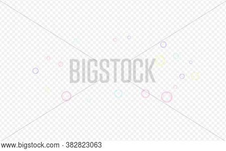 White Foam Isolated Transparent Background. Effect 3d Circle Invitation. Rainbow Liquid Soapy Banner