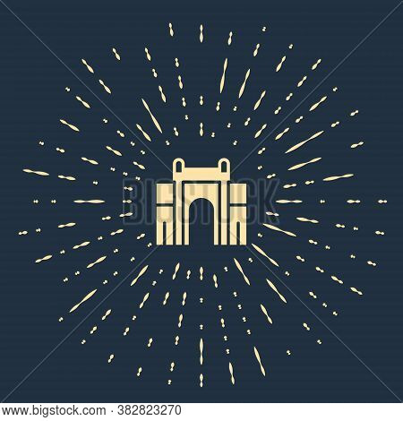 Beige India Gate In New Delhi, India Icon Isolated On Blue Background. Gate Way Of India Mumbai. Abs