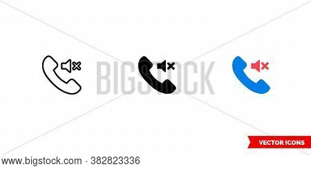 Silent Call Icon Of 3 Types Color, Black And White, Outline. Isolated Vector Sign Symbol.