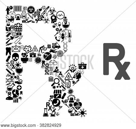 Mosaic Rx Symbol Of Medic Items And Basic Icon. Mosaic Vector Rx Symbol Is Formed Of Medic Symbols.