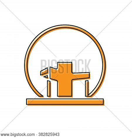 Orange Montreal Biosphere Icon Isolated On White Background. Vector