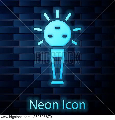 Glowing Neon Mace, Symbol Of Ukrainian National Power Icon Isolated On Brick Wall Background. Tradit