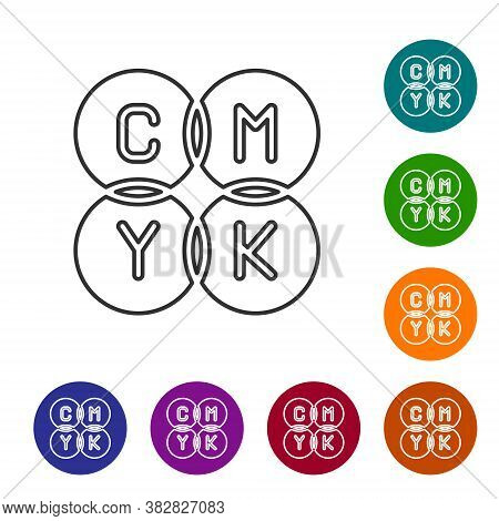 Black Line Cmyk Color Mixing Icon Isolated On White Background. Set Icons In Color Circle Buttons. V