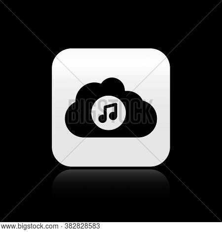 Black Music Streaming Service Icon Isolated On Black Background. Sound Cloud Computing, Online Media
