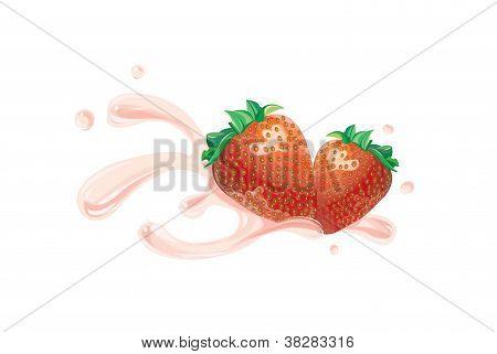 strawberry illustration with splash