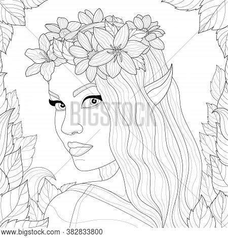 Elf Girl With A Floral Wreath On Her Head And Leaves Around.coloring Book Antistress For Children An