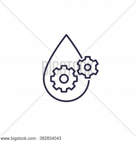 Lubricant, Oil Line Icon, Drop And Gears, Eps 10 File, Easy To Edit