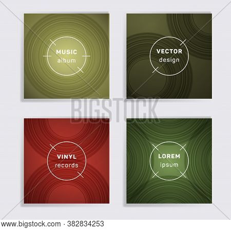 Retro Vinyl Records Music Album Covers Set. Semicircle Curve Lines Patterns. Dynamic Creative Vinyl
