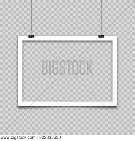Realistic Hanging Empty Photo Card Frame, Film Set. Retro Vintage Photograph. Digital Snapshot Image