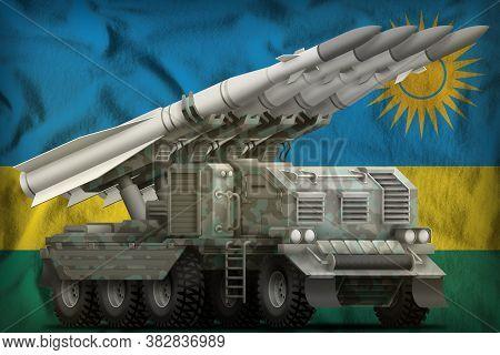 Tactical Short Range Ballistic Missile With Arctic Camouflage On The Rwanda Flag Background. 3d Illu