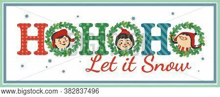 Hand Drawn Christmas Holiday Vector Decoration. Cute Happy Kids Enjoy Winter Snowing Cartoon. Fun Te