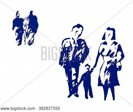 Blue Line Stylized Silhouettes Man, Women, Child. Modern Social Sketches Human Shapes. Abstract Jpeg