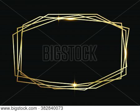 Golden Shiny Glowing Geometric Poligonal Frame Isolated Over Black Background. Gold Metal Luxury Bla