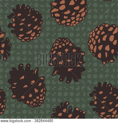 Pinecones Seamless Vector Pattern In Brown And Green. Woodland Surface Print Design For Fabrics, Sta