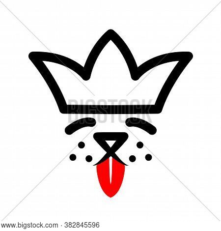 Pet In Crown With Red Tongue Logo. Royal Dog Black Sign On White Background. Cute Puppy Happy In Lux