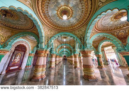 Mysore, India - August 26, 2018: The Audience Hall In Mysore Palace. Mysore Palace Is Now One Of The